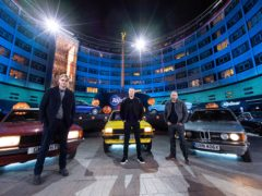 Andrew Flintoff, Paddy McGuinness and Chris Harris during filming for Top Gear (BBC)
