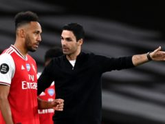 Mikel Arteta, right, was unable to call on captain Pierre-Emerick Aubameyang last week after he tested positive for Covid-19 (Shaun Botterill/PA)
