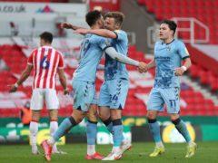 Matt Godden (centre, right) netted a late winner for Coventry (Bradley Collyer/PA)