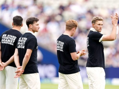 England captain Joe Root (pictured, right, campaigning against discrimination) says the pain of former team-mate Azeem Rafiq is 'hard to see' (Mike Egerton/PA Images).