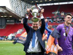 Jeff Stelling celebrates Hartlepool's promotion (Nigel French/PA)