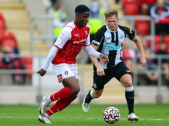 Chiedozie Ogbene, left, is expected to be out of action for Rotherham (Barrington Coombs/PA)
