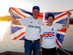 Leslie and Vivian Bithell celebrate after their son Stuart Bithell and his helm Dylan Fletcher won a gold medal in the 49er medal race during the Tokyo 2020 Olympic Games, at Bithell's home club, Hollingworth Lake Sailing Club, near Rochdale. Picture date: Tuesday August 3, 2021.