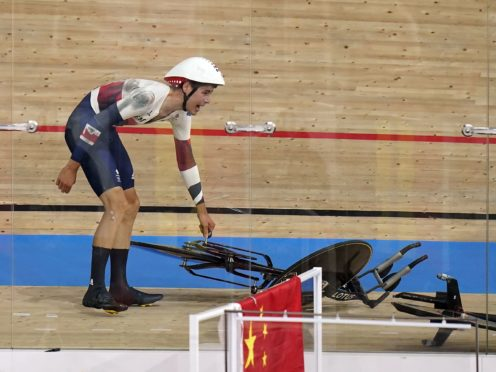 Charlie Tanfield crashed in the velodrome (Danny Lawson/PA)