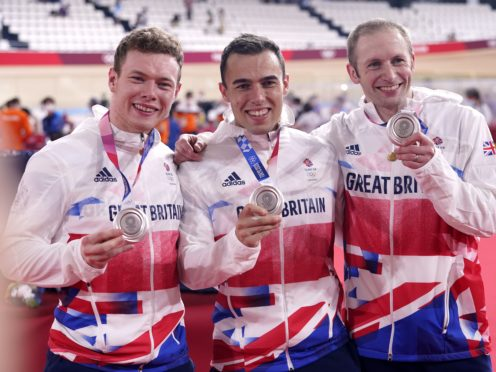 Jack Carlin, Ryan Owens and Jason Kenny show off their silver medals (Danny Lawson/PA)