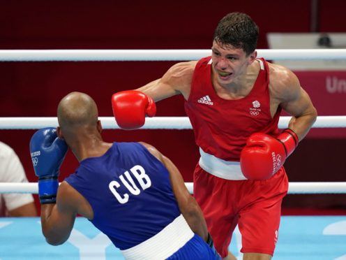 Great Britain's Pat McCormack (right) and Cuba's Roniel Iglesias in the Men's Welter Final Bout at Kokugikan Arena on the eleventh day of the Tokyo 2020 Olympic Games in Japan. Picture date: Tuesday August 3, 2021.