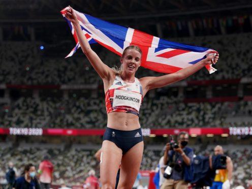 Keely Hodgkinson celebrates after the Women's 800m Final (Martin Rickett/PA)
