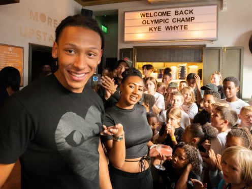 Silver medallist BMXer Kye Whyte at a welcome home party at the Prince of Peckham Pub in London (James Manning/PA)