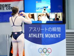 Andrea Spendolini-Sirieix speaks to her family after finishing seventh in the 10 metres platform event (Mike Egerton/PA)