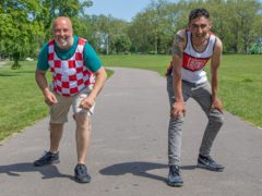 Big Issue vendors Lee Welham (right) and Andre Rostant are in training (Dale Brodie Creative Ltd/PA)