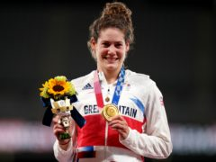Great Britain's Kate French after winning a gold medal in the modern pentathlon (Mike Egerton/PA)