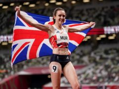 Great Britain's Laura Muir celebrates after winning the silver medal (Martin Rickett/PA)