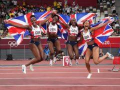 Great Britain's Asha Philip, Daryll Neita, Dina Asher-Smith and Imani-Lara Lansiquot celebrate bronze (Martin Rickett/PA)