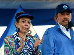 Nicaragua's President Daniel Ortega and his wife, Vice President Rosario Murillo, lead a rally in Managua (Alfredo Zuniga/AP)