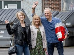 Laura Nuttall (left) with her mum Nicola and dad Mark arrive at Peter Kay's charity show (Peter Powell/PA)