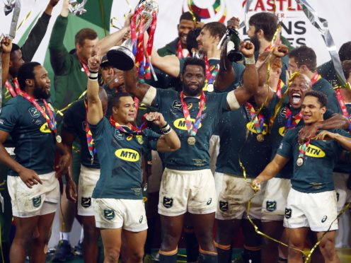 South Africa's Siya Kolisi lifts the tour trophy following victory over the British and Irish Lions (Steve Haag/PA)
