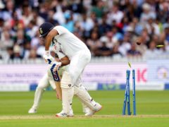 Rohit Sharma is bowled by James Anderson (Zac Goodwin/PA)