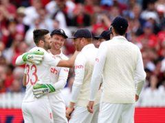 England's Mark Wood (left) celebrates with team-mate Jos Buttler after the dismissal of India's Rishabh Pant (Zac Goodwin/PA Images).