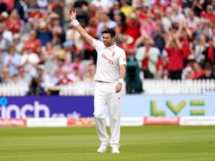 James Anderson celebrates another five-wicket haul for England in the second Test against India at Lord's (Zac Goodwin/PA Images).