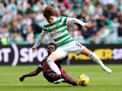 Celtic's Kyogo Furuhashi showed he could handle himself (Steve Welsh/PA)