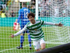Celtic's Kyogo Furuhashi celebrates his opener (Andrew Milligan/PA)