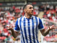 Lee Gregory celebrates Sheffield Wednesday's second goal at Rotherham (Isaac Parkin/PA)