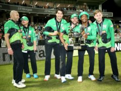 Southern Brave players lift the inaugural Hundred trophy (Steven Paston/PA)
