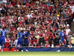 Chelsea's Romelu Lukaku (centre) celebrates scoring their side's first goal of the game during the Premier League match at the Emirates Stadium, London. Picture date: Sunday August 22, 2021.