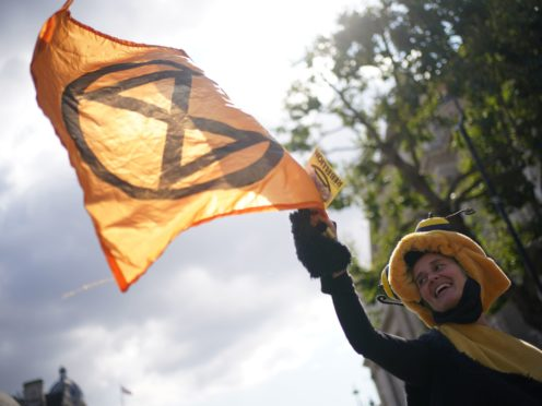 Demonstrators during a protest by members of Extinction Rebellion on Whitehall (PA)