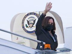 US vice president Kamala Harris waves as she departs Singapore (Evelyn Hockstein/Pool Photo via AP)