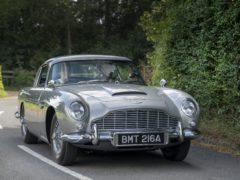 Keely Hodgkinson driving James Bond's Aston Martin DB5 (Max Earey/Aston Martin/PA)