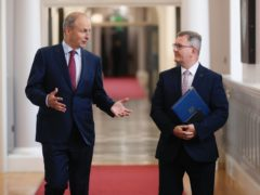 DUP leader Sir Jeffrey Donaldson (right) meeting Taoiseach Michael Martin at Government Buildings, Dublin (Julien Behal/PA)