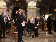 German Chancellor Angela Merkel led the dignitaries (AP)