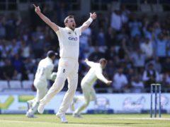 Ollie Robinson celebrates removing Virat Kohli (Nigel French/PA)