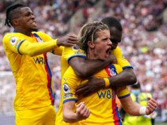 Conor Gallagher (centre) scored twice for Crystal Palace at the weekend (Jonathan Brady/PA)