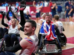 Great Britain celebrate wheelchair rugby gold (Shuji Kajiyama/AP)
