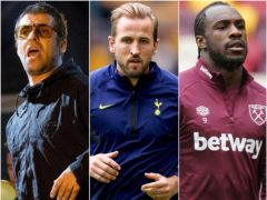 Liam Gallagher, Harry Kane and Michail Antonio (Isabel Infantes/David Davies/Tess Derry/PA)