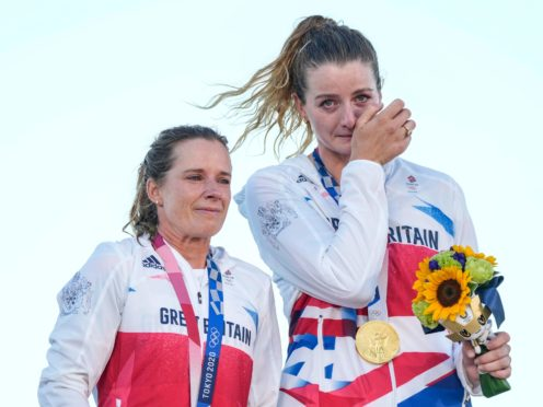 Great Britain's Hannah Mills and Eilidh McIntyre dominated the field to win gold (AP Photo/Gregorio Borgia)