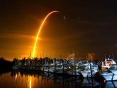 Tthe launch of a SpaceX Falcon 9 rocket on a resupply mission for Nasa to the International Space Station from Pad 39A at Kennedy Space Centre, seen from Merritt Island, Florida (Malcolm Denemark/Florida Today via AP)
