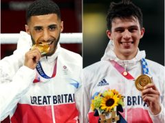 Galal Yafai and Joe Chong celebrate their gold medals in boxing and modern pentathlon on day 15 of the Tokyo Olympics (Mike Egerton and Adam Davy/PA Images).
