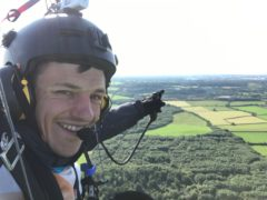 Daniel Jones of Norwich, flew his paramotor – a motorised paraglider – from John O'Groats to Land's End for Alzheimer's Research UK (Daniel Jones/PA)