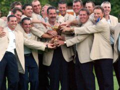 Sam Torrance, centre, captained Europe to Ryder Cup glory in 2002 (Rebecca Naden/PA)