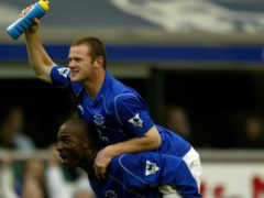 A 16-year-old Wayne Rooney (top) celebrates his late winner in Everton's 2-1 victory over Arsenal in 2002 (Nick Potts/PA).