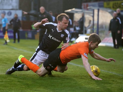 Paul McGowan, left, in action against Dundee United (Andrew Milligan/PA)