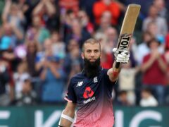 Moeen Ali celebrates reaching 100 during England's third ODI against the West Indies in 2017 (David Davies/PA).