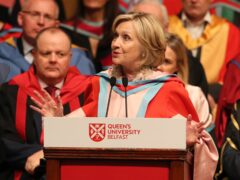 Hillary Clinton makes an address during a ceremony at Queen's University Belfast where she is being awarded an honorary degree (PA)