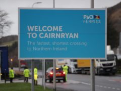 A sign at the Cairnryan Ferry Terminal, Wigtownshire (Andrew Milligan/PA)
