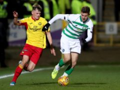 James Penrice, left, in action against Celtic for Partick Thistle (Jane Barlow/PA)