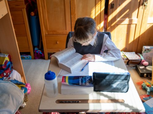 A child being home-schooled during lockdown (PA)