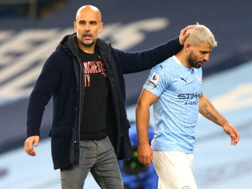 Pep Guardiola, left, acknowledged City are missing something after failing to replace Sergio Aguero this summer (Alex Livesey/PA)